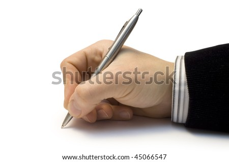One man's hand with the handle isolated on white background