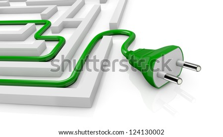 one maze and an electric plug on the exit (3d render)
