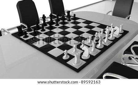 one meeting room with a chessboard over the table (3d render) - stock photo
