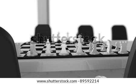 one meeting room with a chessboard over the table (3d render)