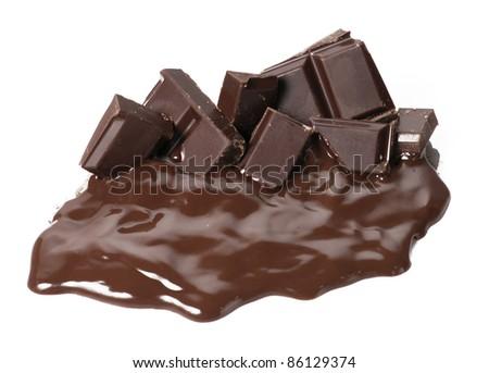 One melting chocolate bars. Chocolate cream and sticks on white background. - stock photo