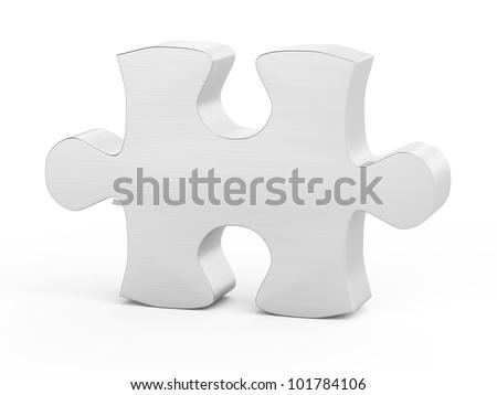 one metallic puzzle piece illustration on white isolated background - stock photo