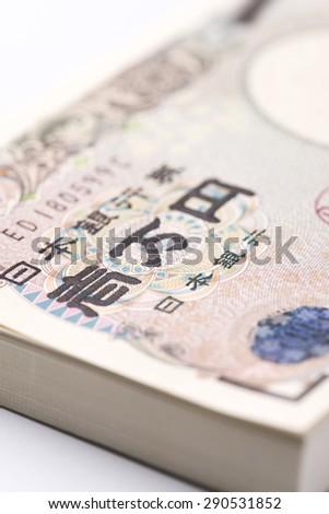 One million yen of wad, close up - stock photo