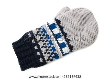 One mitten with ornament on white background - stock photo