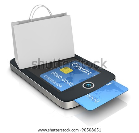 one mobile computer device with a shopping bag, concept of online shopping (3d render)