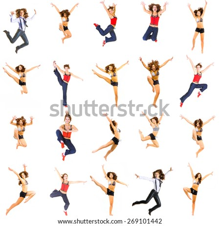 ONE MODEL Jumping CONCEPT In the Air  - stock photo