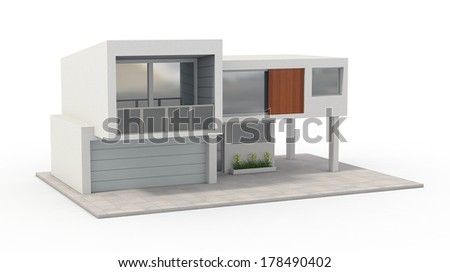 one model of a modern house (3d render)