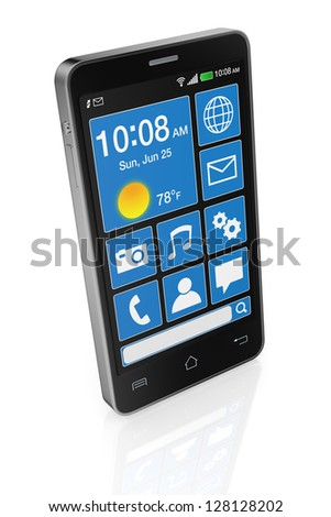 one modern cell phone with touchscreen (3d render) - stock photo