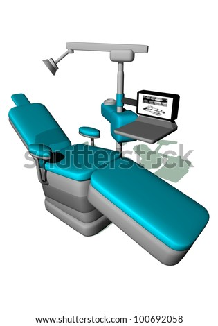 One modern dental chair in white background