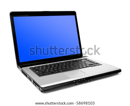 one modern laptop on the white backgrounds - stock photo