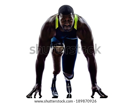 one muscular handicapped man runners sprinters  with legs prosthesis in silhouettes on white background - stock photo