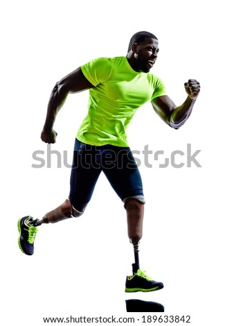 one muscular handicapped man with legs prosthesis in silhouettes on white background - stock photo