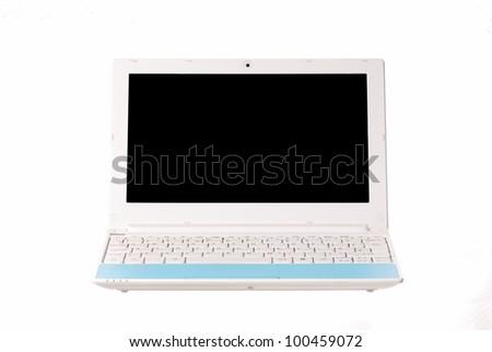 One netbook. Blank black screen. Focus on middle keys. - stock photo