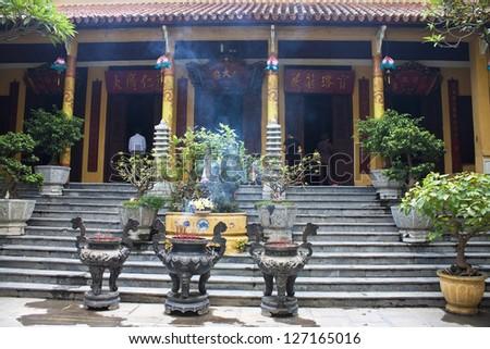 One of buddhist temples in Hanoi, Vietnam - stock photo