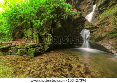 One of Cornwall�s most sacred sites.  St.Nectan�s waterfall  has been described as amongst the ten most important spiritual sites in the country. A place of outstanding natural beauty. - stock photo