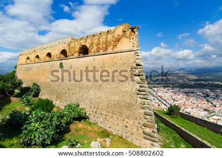 One of forts of a fortress of Palamidi and kind on the city of Nafplion (Nafplio), Greece