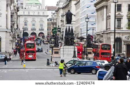 One of Londons main streets leading to Piccadilly Circus - stock photo