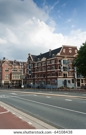 One of many amsterdam's traditionally built houses, summer 2010. - stock photo