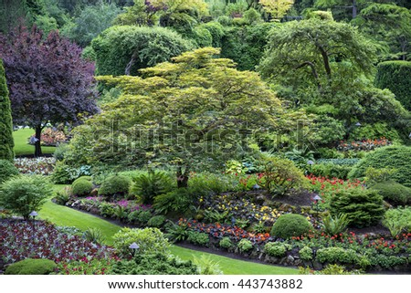 One of many beautiful views of Butchart Gardens - stock photo