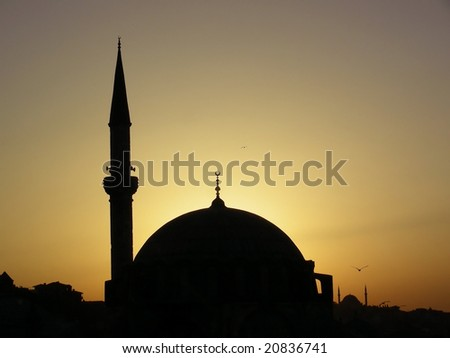 One of mosques in Istanbul, Turkey at evening sun - stock photo