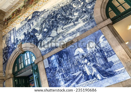 One of Sao Bento station walls from a low perspective. - stock photo