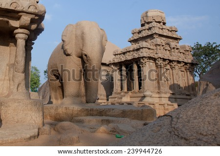 One of the ancient architectural wonders of the Pallava kings in south India  - stock photo