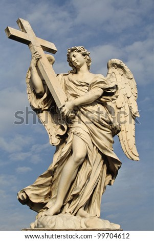 One of the angels at the famous Sant' Angelo bridge in Rome, Italy. - stock photo