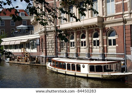 One of the beautiful streets in Amsterdam - stock photo