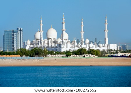 One of the biggest mosques in the world in Abu Dhabi, UAE - stock photo