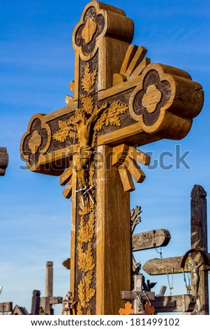 One of the crosses on the Hill of Crosses in Lithuania.