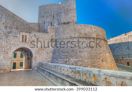 One of the entrance gates to the old walled city of Dubrovnik, Croatia - stock photo