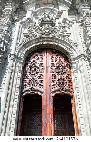 One of the entrances to the Metropolitan Cathedral in Mexico City, Mexico - stock photo