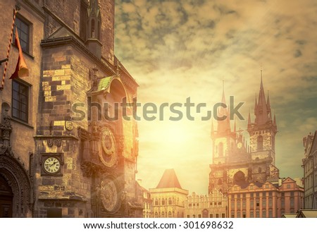 One of the famous popular travel place in world - Prague under sunlight. - stock photo
