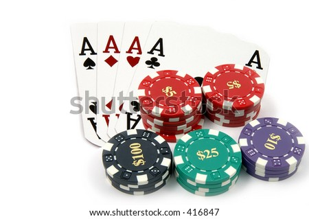 One of the highest hands in poker 4 Aces with a pile of casino chips isolated on white Card are retired casino cards and the corners have been physically clipped