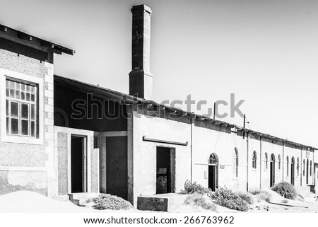 One of the houses of the Ghost town  Kolmanskop.  It was settled by German in 1908 with a purpose of diamond searching
