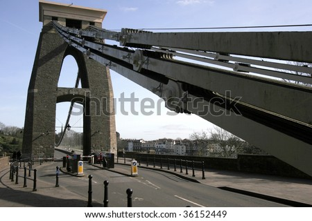 One of the main towers of the Clifton suspension bridge - stock photo