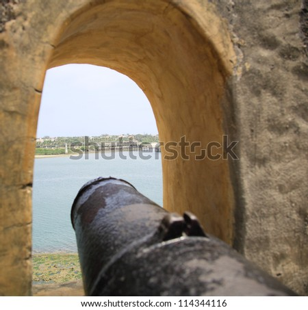 One of the many cannons at Fort Jesus Mombasa Kenya - stock photo