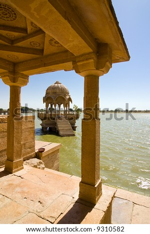 One of the many temples surrounding the Gadisar lake - Jaisalmer, Rajasthan, India