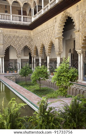 One of the most beautiful landmarks in Real Alcazar Palace in Seville, Spain - stock photo