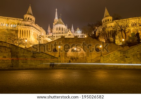 One of the most evocative places in Budapest is definitely one of Fisherman's Bastion - stock photo