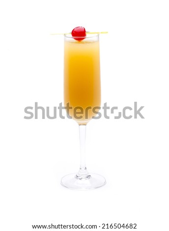 one of the most famous cocktails in the world, bellini - stock photo