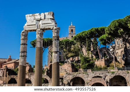 One of the most famous landmarks in the world - Roman Forum (509 BC). Here, triumphal processions took place, elections were held and the Senate assembled. Rome, Italy.
