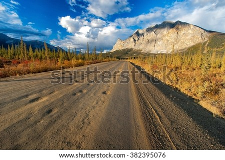 """One of the most iconic mountains passed by the """"Haul Road"""" in the Brooks Range of remote northern Alaska - stock photo"""