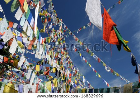 One of the most important churches for Tibetans, Kalaczakra temples in Dharamsala, Buddhist prayer flags, McLeod Ganj, India