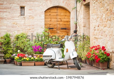 One of the most popular transport in Italy, vintage Vespa - stock photo