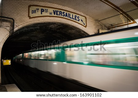 One of the oldest trains in Europe - Paris underground - at Pte. de Versailles stop. - stock photo