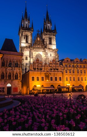 One of the Prague symbols, Church of Our Lady of Tyn, old gothic church in old town main square, Stare Mesto