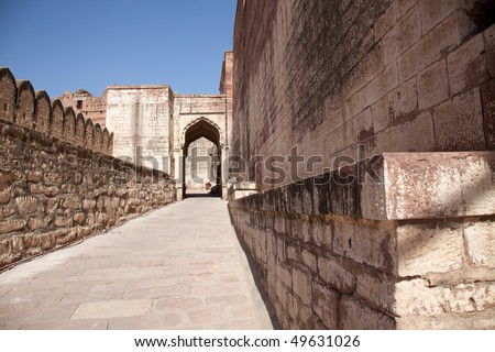 One of the seven gates on the way to Meharangarh, the Majestic Fort in Jodhpur, Rajastan.
