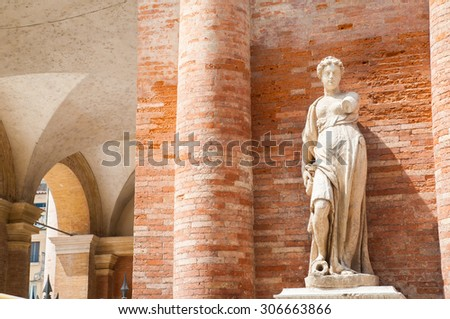 One of the the two statues on the right side of the Palazzo del Capitaniato in Lords Square Vicenza