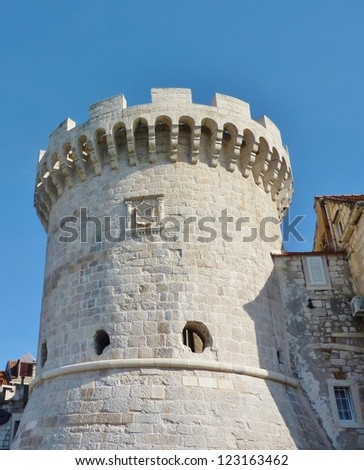 One of the towers in the ancient city wall of Korcula in Croatia - stock photo